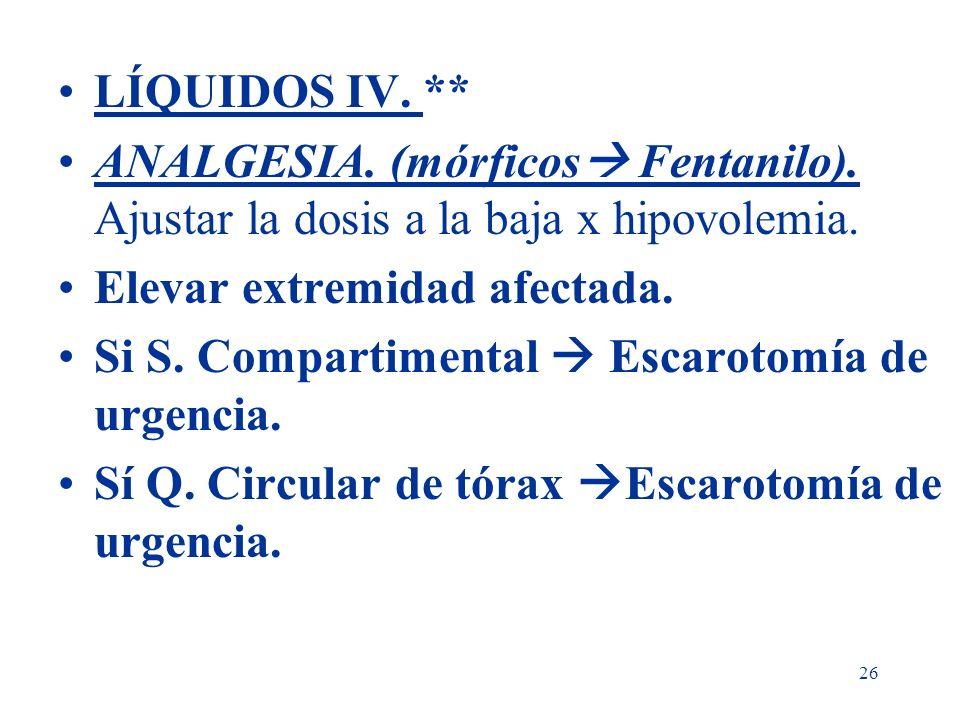 LÍQUIDOS IV. ** ANALGESIA. (mórficos Fentanilo). Ajustar la dosis a la baja x hipovolemia. Elevar extremidad afectada.