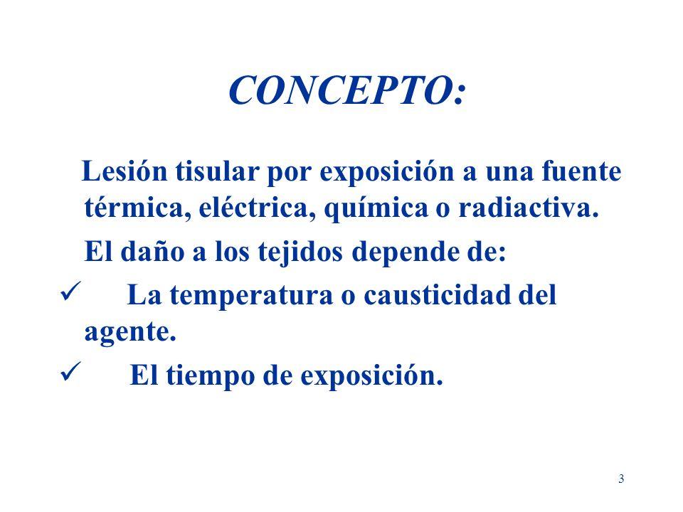 CONCEPTO:Lesión tisular por exposición a una fuente térmica, eléctrica, química o radiactiva. El daño a los tejidos depende de: