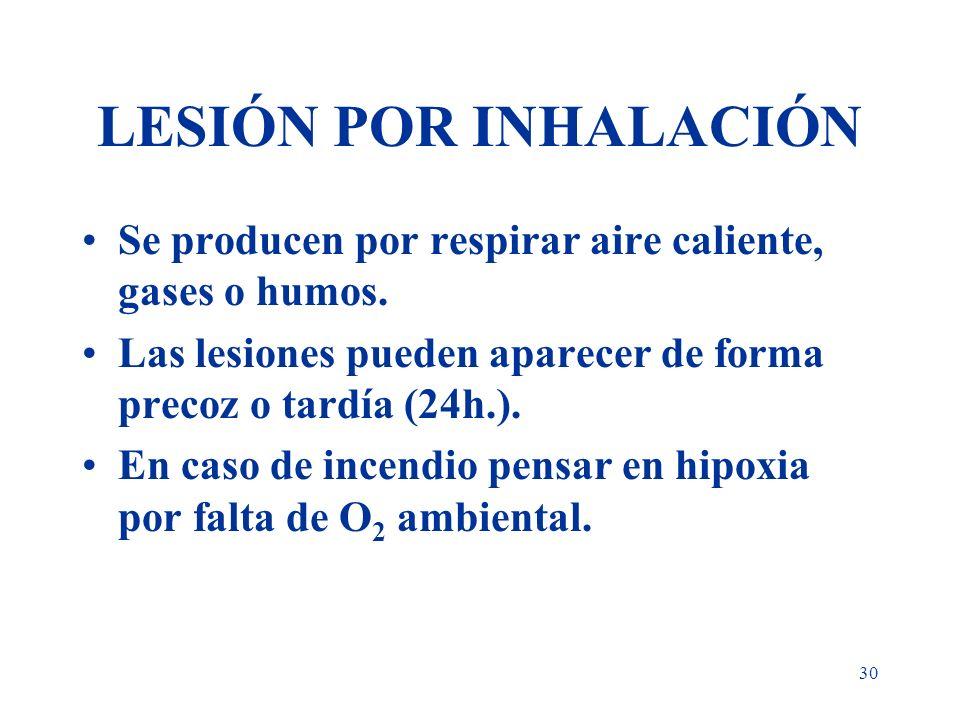 LESIÓN POR INHALACIÓN Se producen por respirar aire caliente, gases o humos. Las lesiones pueden aparecer de forma precoz o tardía (24h.).
