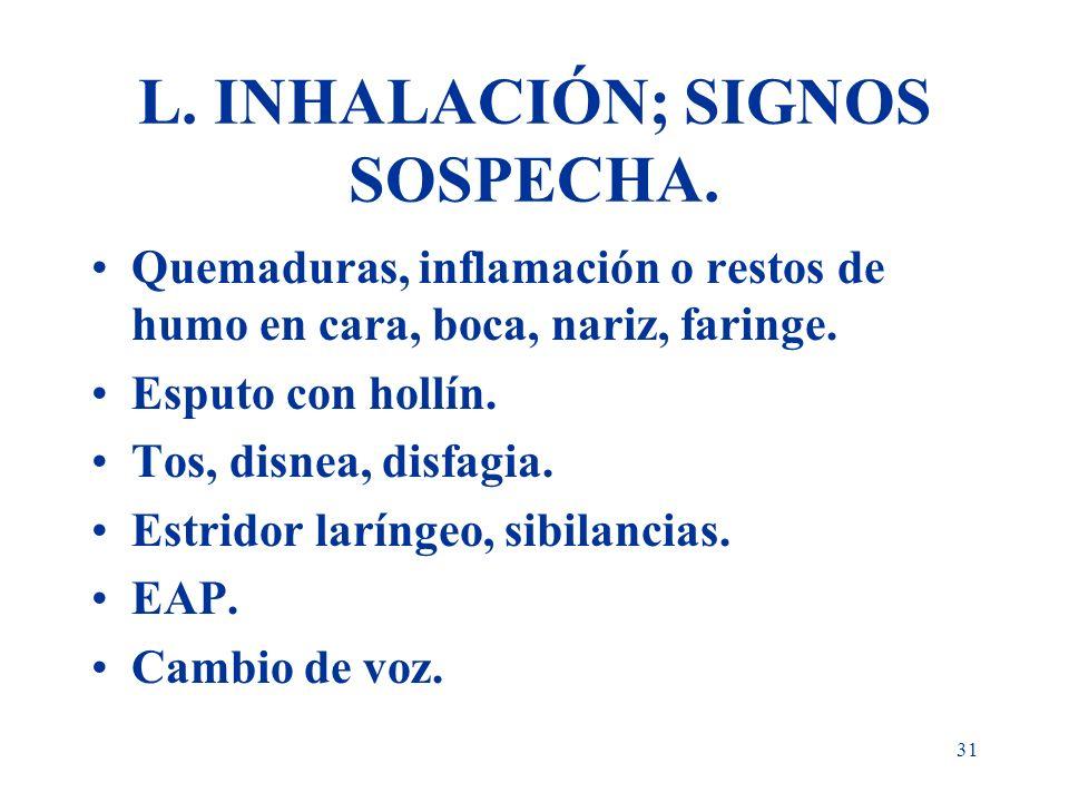 L. INHALACIÓN; SIGNOS SOSPECHA.