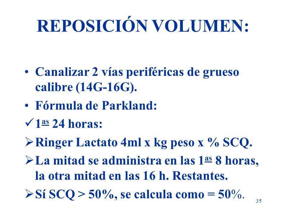 REPOSICIÓN VOLUMEN:Canalizar 2 vías periféricas de grueso calibre (14G-16G). Fórmula de Parkland: 1as 24 horas: