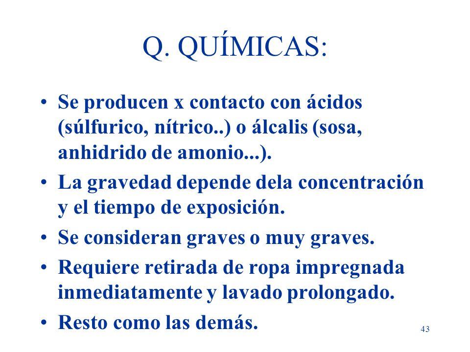 Q. QUÍMICAS:Se producen x contacto con ácidos (súlfurico, nítrico..) o álcalis (sosa, anhidrido de amonio...).