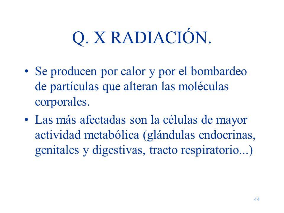 Q. X RADIACIÓN.Se producen por calor y por el bombardeo de partículas que alteran las moléculas corporales.