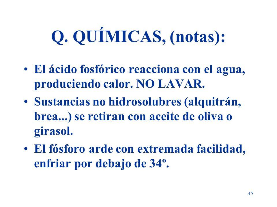 Q. QUÍMICAS, (notas): El ácido fosfórico reacciona con el agua, produciendo calor. NO LAVAR.