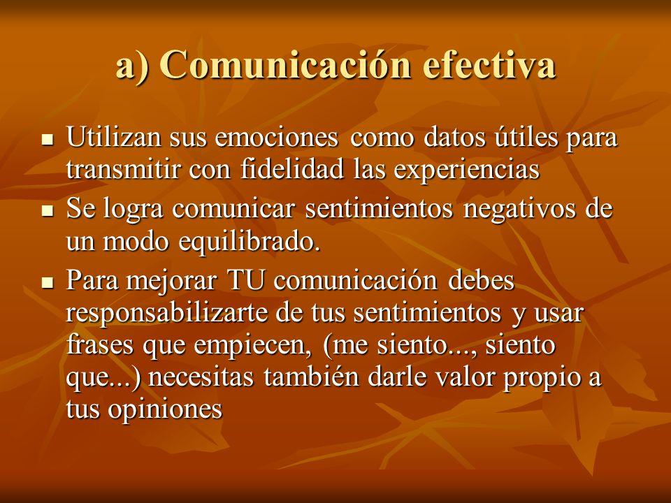 a) Comunicación efectiva