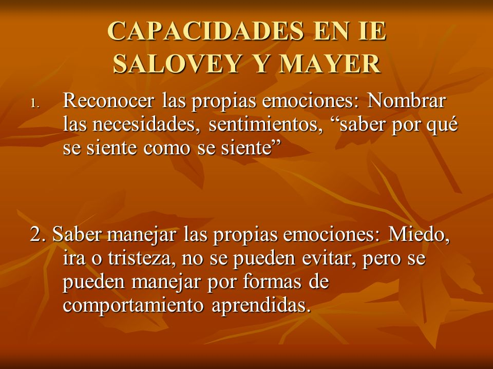 CAPACIDADES EN IE SALOVEY Y MAYER