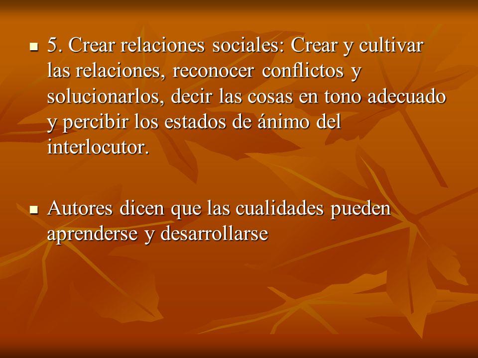 5. Crear relaciones sociales: Crear y cultivar las relaciones, reconocer conflictos y solucionarlos, decir las cosas en tono adecuado y percibir los estados de ánimo del interlocutor.