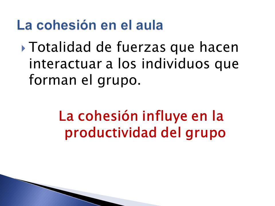La cohesión influye en la productividad del grupo