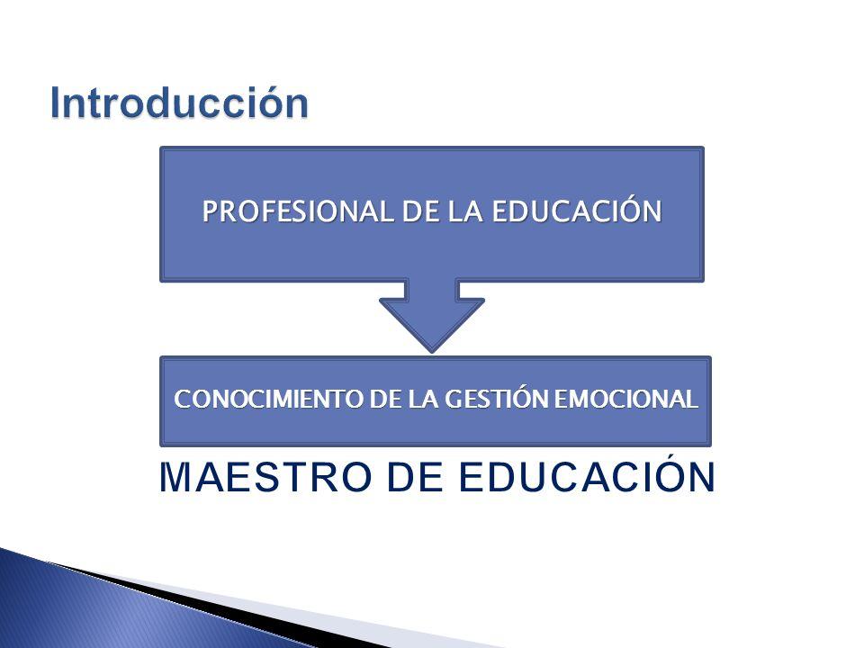 PROFESIONAL DE LA EDUCACIÓN CONOCIMIENTO DE LA GESTIÓN EMOCIONAL