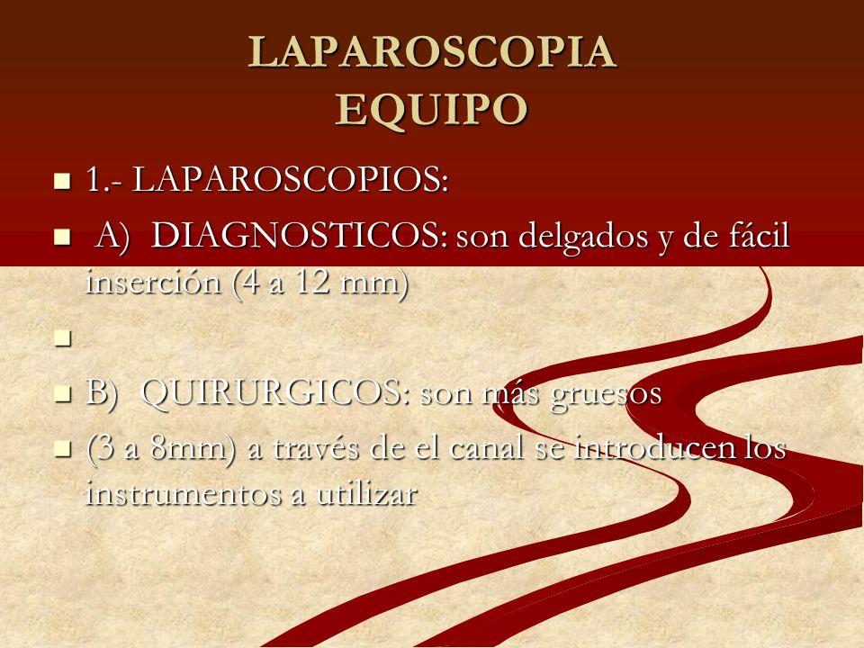 LAPAROSCOPIA EQUIPO 1.- LAPAROSCOPIOS: