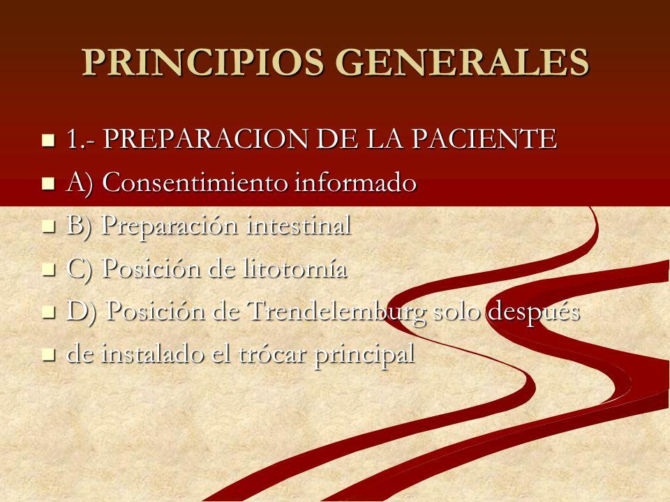 PRINCIPIOS GENERALES 1.- PREPARACION DE LA PACIENTE