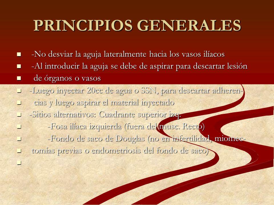 PRINCIPIOS GENERALES -No desviar la aguja lateralmente hacia los vasos ilíacos. -Al introducir la aguja se debe de aspirar para descartar lesión.