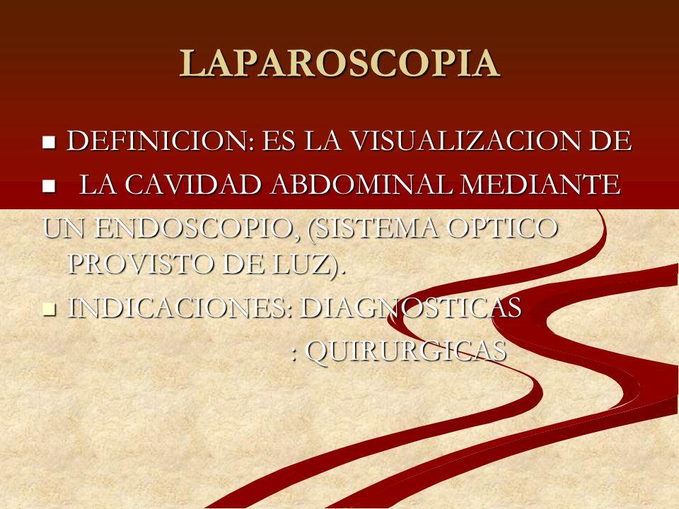 LAPAROSCOPIA DEFINICION: ES LA VISUALIZACION DE