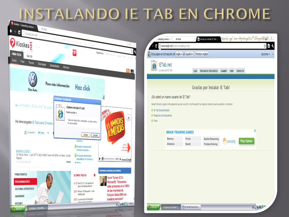 INSTALANDO IE TAB EN CHROME