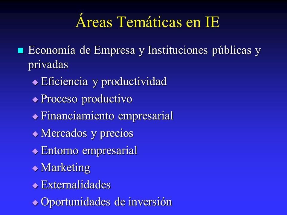 Áreas Temáticas en IEEconomía de Empresa y Instituciones públicas y privadas. Eficiencia y productividad.