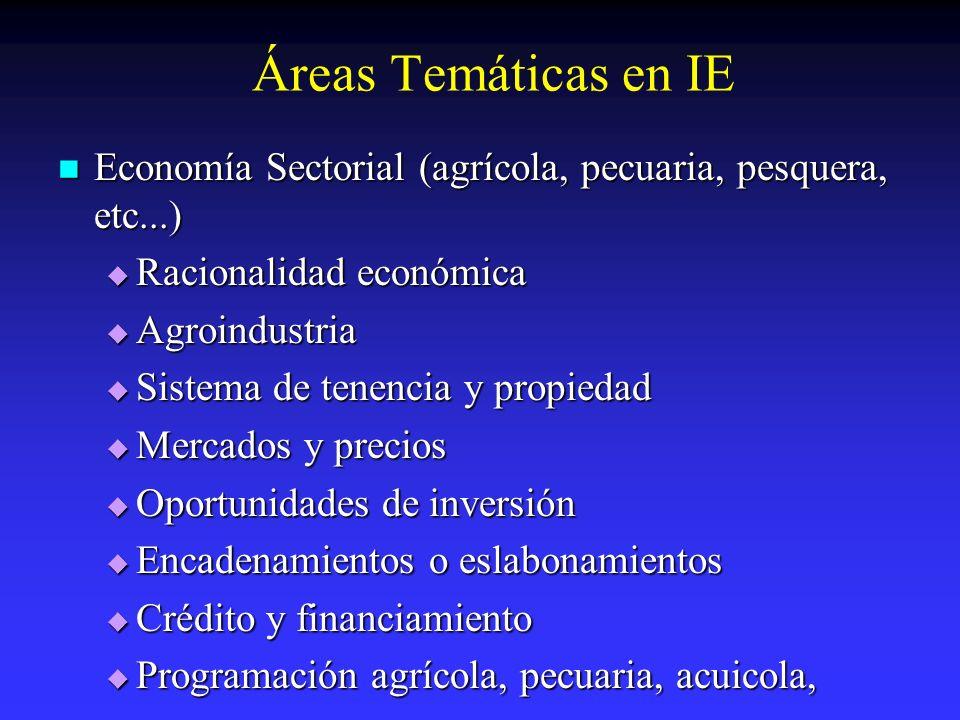 Áreas Temáticas en IE Economía Sectorial (agrícola, pecuaria, pesquera, etc...) Racionalidad económica.