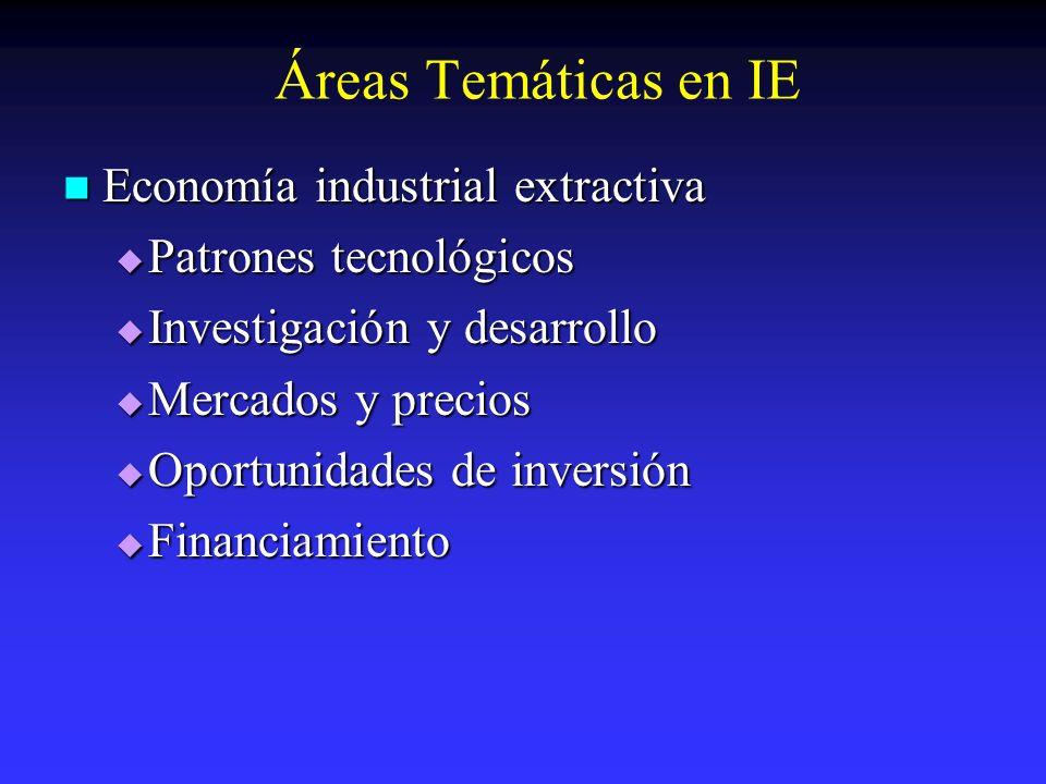 Áreas Temáticas en IE Economía industrial extractiva
