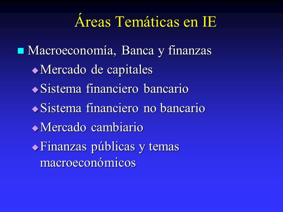 Áreas Temáticas en IE Macroeconomía, Banca y finanzas