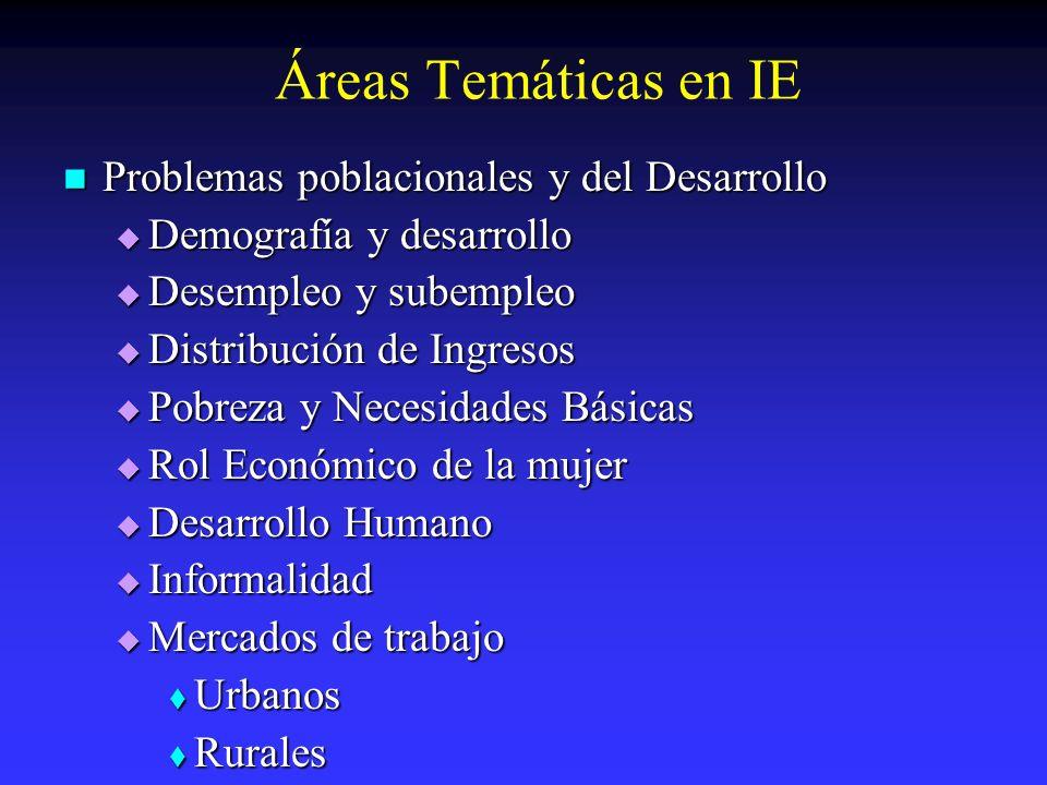Áreas Temáticas en IE Problemas poblacionales y del Desarrollo