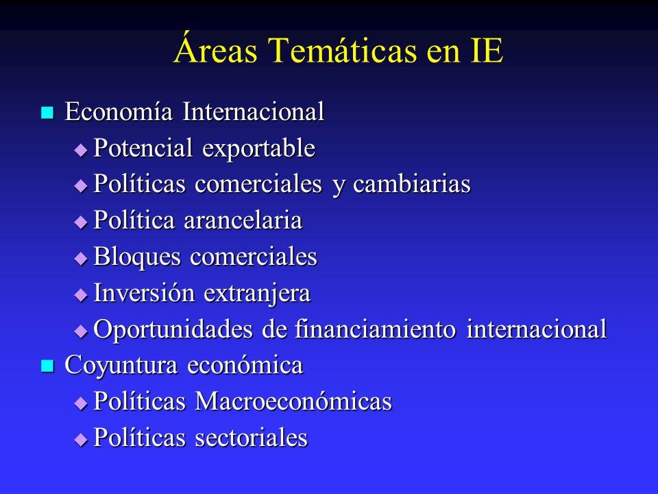 Áreas Temáticas en IE Economía Internacional Potencial exportable