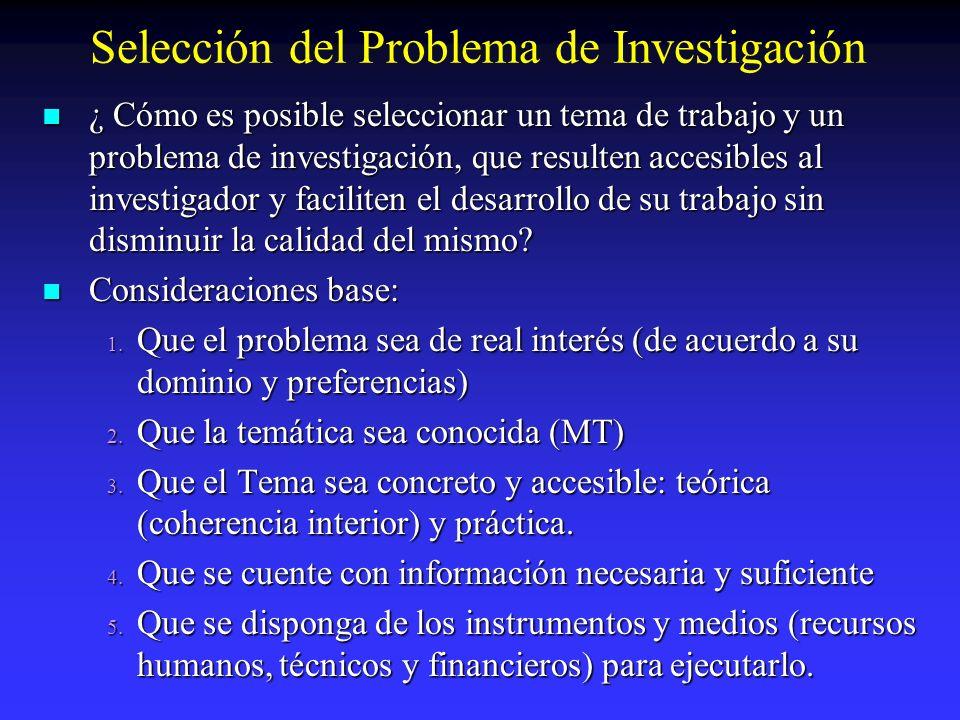 Selección del Problema de Investigación