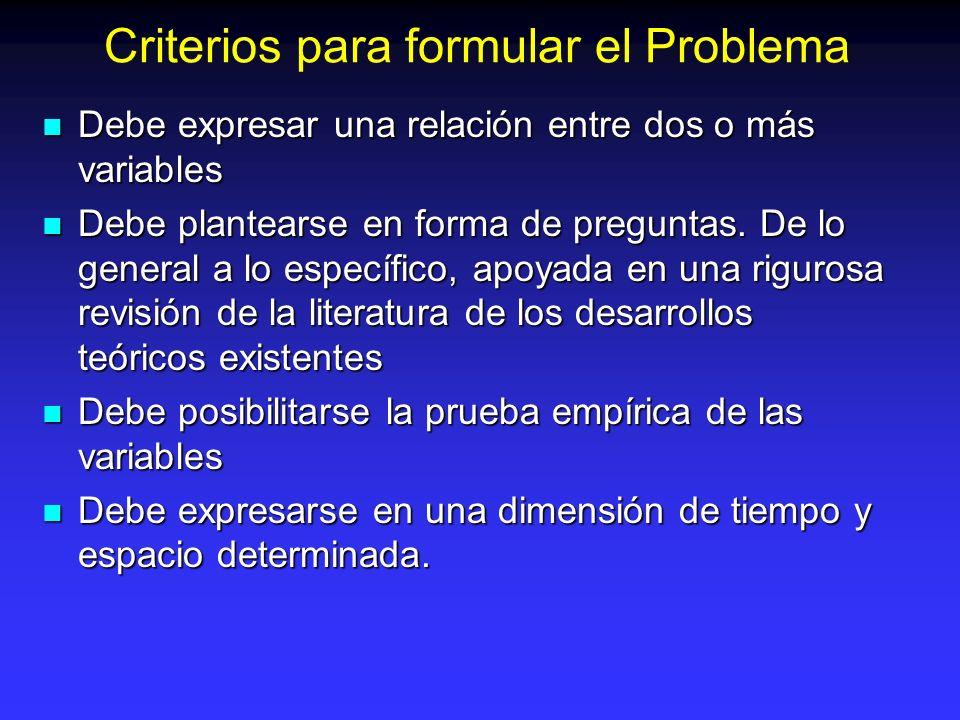 Criterios para formular el Problema