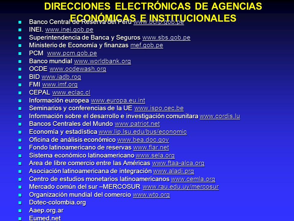 DIRECCIONES ELECTRÓNICAS DE AGENCIAS ECONÓMICAS E INSTITUCIONALES