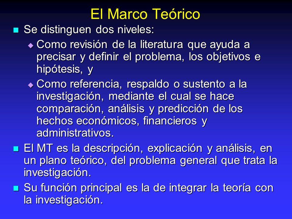 El Marco Teórico Se distinguen dos niveles: