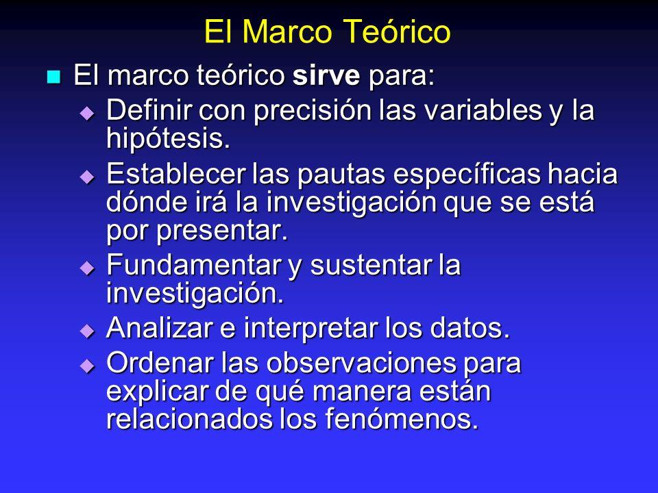 El Marco Teórico El marco teórico sirve para: