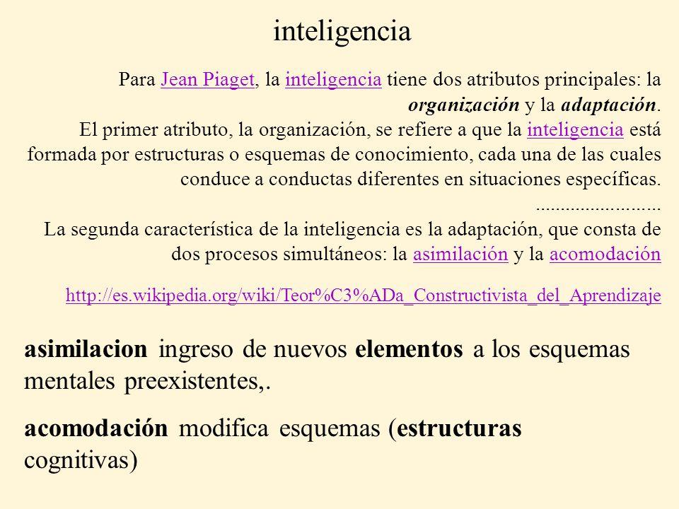 inteligencia Para Jean Piaget, la inteligencia tiene dos atributos principales: la organización y la adaptación.