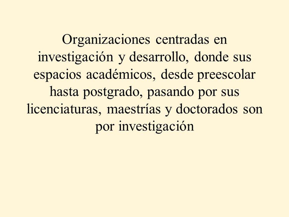 Organizaciones centradas en investigación y desarrollo, donde sus espacios académicos, desde preescolar hasta postgrado, pasando por sus licenciaturas, maestrías y doctorados son por investigación