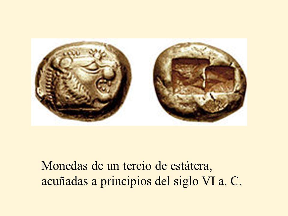 Monedas de un tercio de estátera, acuñadas a principios del siglo VI a