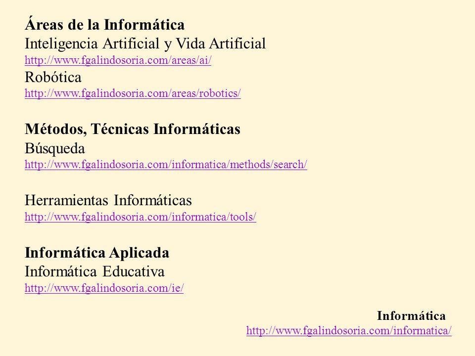 Áreas de la Informática Inteligencia Artificial y Vida Artificial