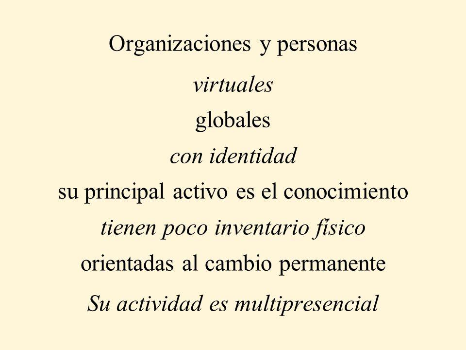 Organizaciones y personas virtuales globales con identidad su principal activo es el conocimiento tienen poco inventario físico orientadas al cambio permanente Su actividad es multipresencial