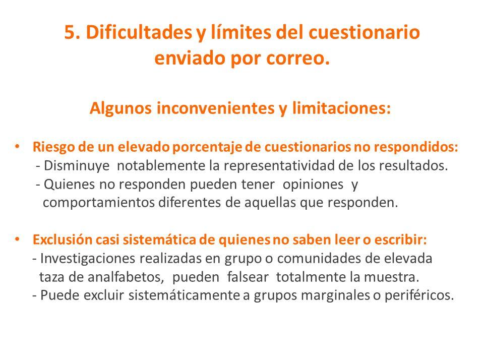 5. Dificultades y límites del cuestionario enviado por correo.