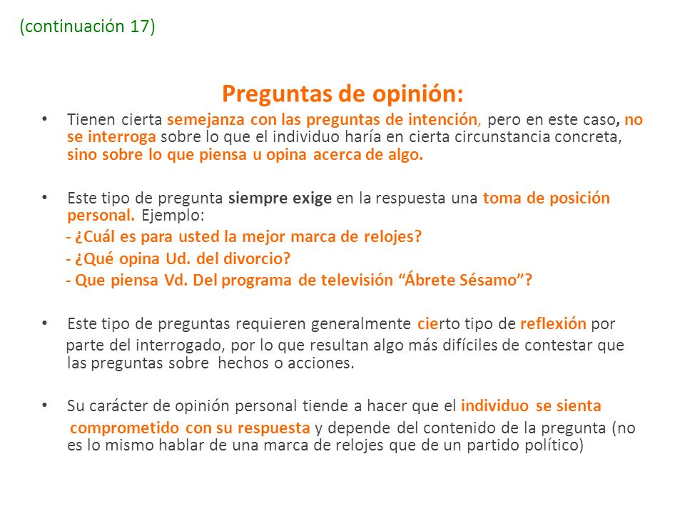 Preguntas de opinión: (continuación 17)