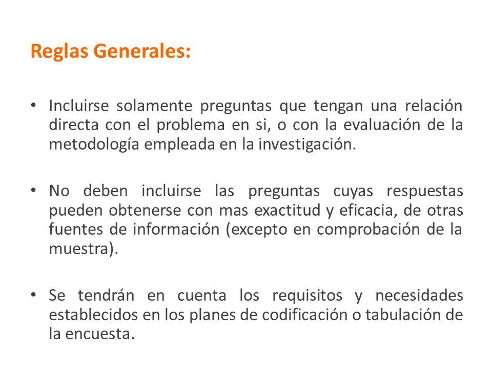 Reglas Generales: