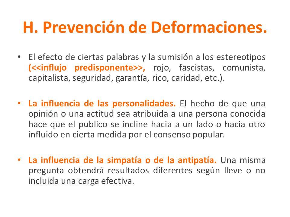 H. Prevención de Deformaciones.