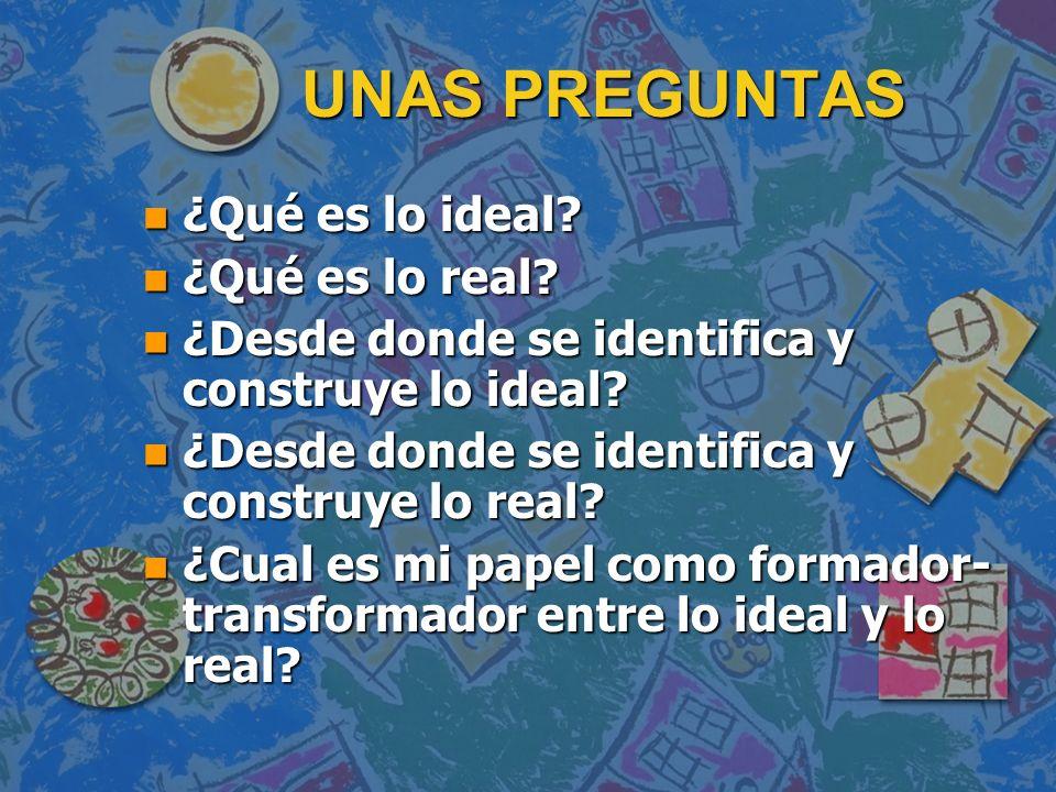 UNAS PREGUNTAS ¿Qué es lo ideal ¿Qué es lo real