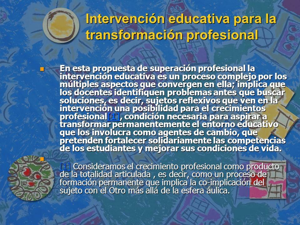 Intervención educativa para la transformación profesional