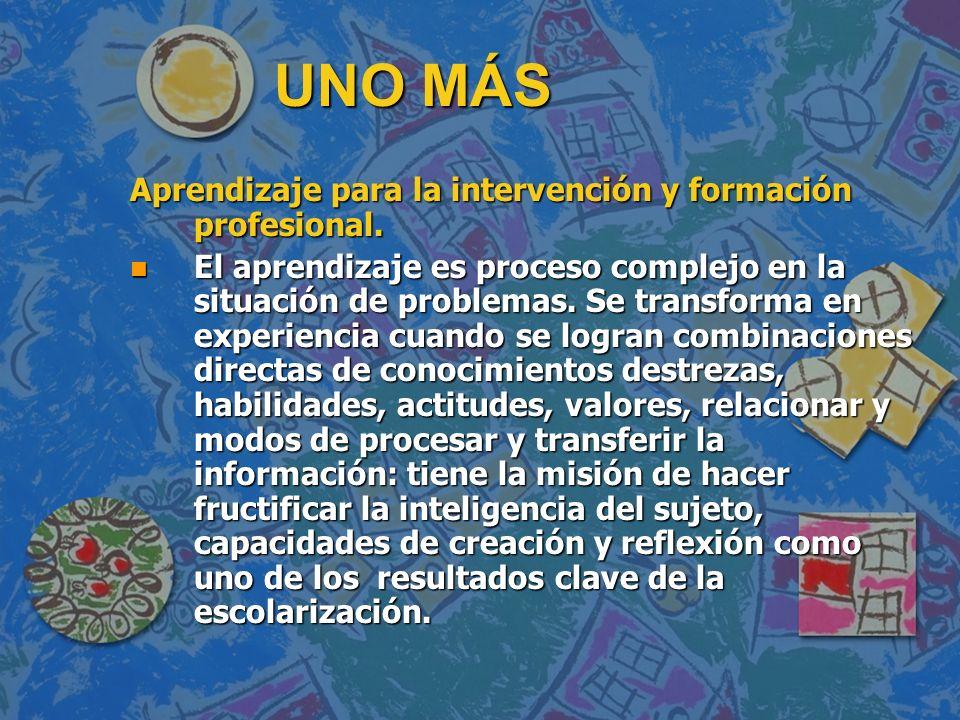 UNO MÁS Aprendizaje para la intervención y formación profesional.