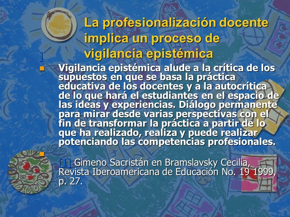La profesionalización docente implica un proceso de vigilancia epistémica