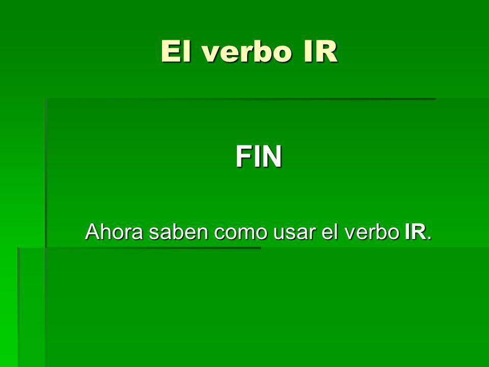 Ahora saben como usar el verbo IR.