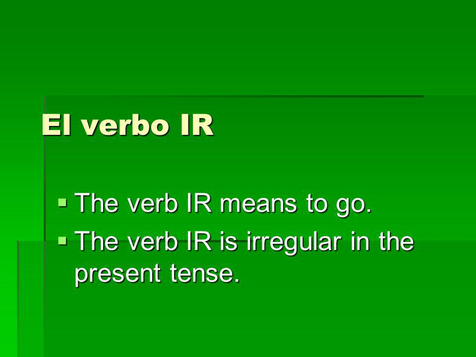 El verbo IR The verb IR means to go.