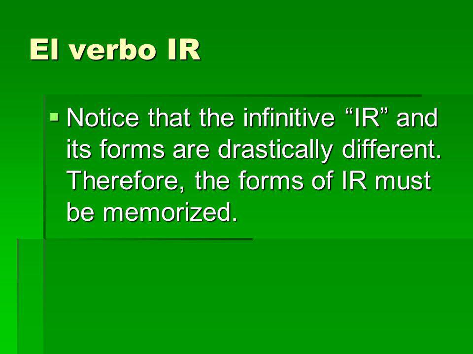 El verbo IR Notice that the infinitive IR and its forms are drastically different.