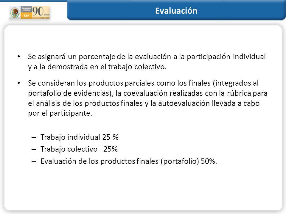Evaluación Se asignará un porcentaje de la evaluación a la participación individual y a la demostrada en el trabajo colectivo.