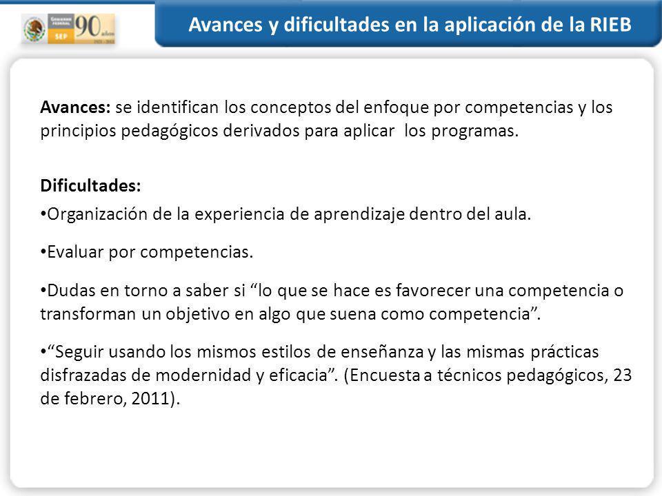 Avances y dificultades en la aplicación de la RIEB