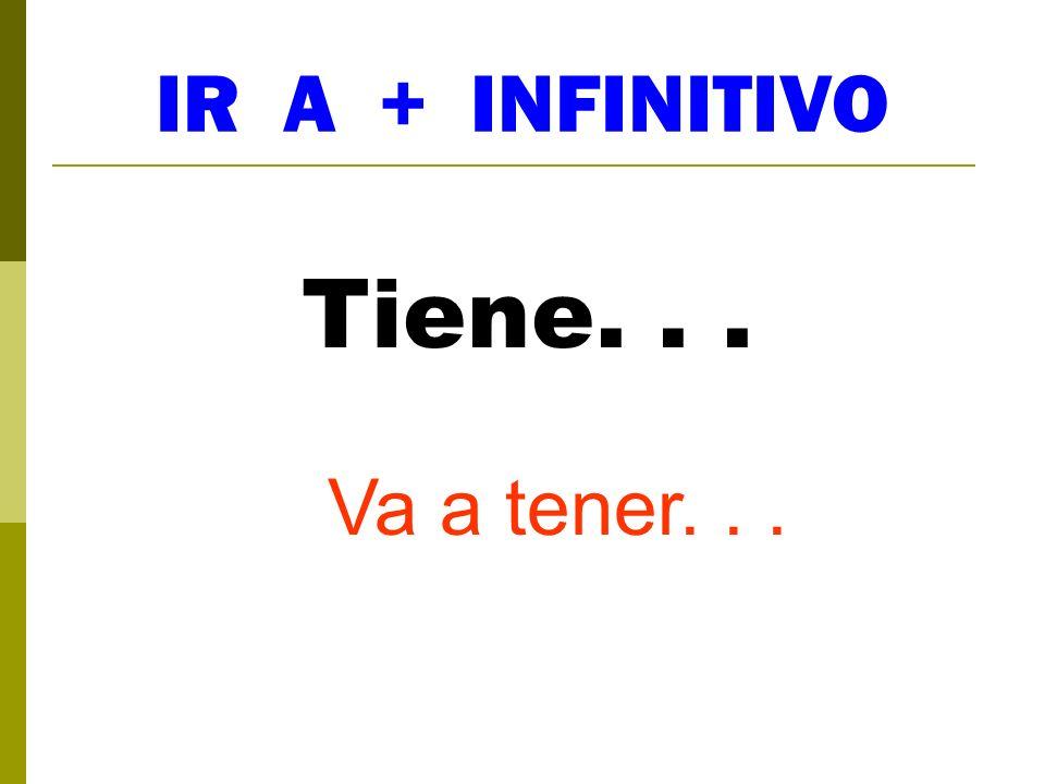 IR A + INFINITIVO Tiene. . . Va a tener. . .