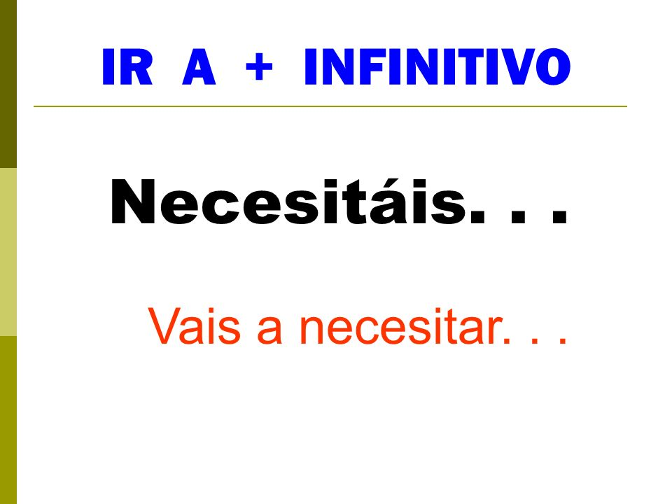 IR A + INFINITIVO Necesitáis. . . Vais a necesitar. . .