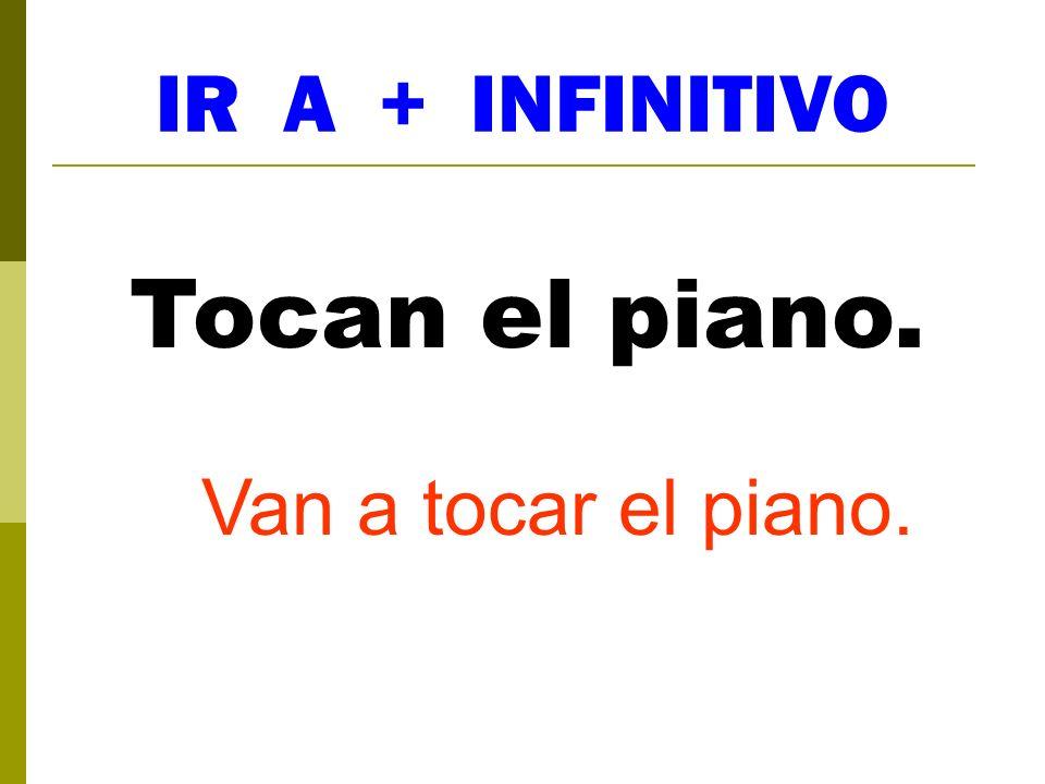 IR A + INFINITIVO Tocan el piano. Van a tocar el piano.